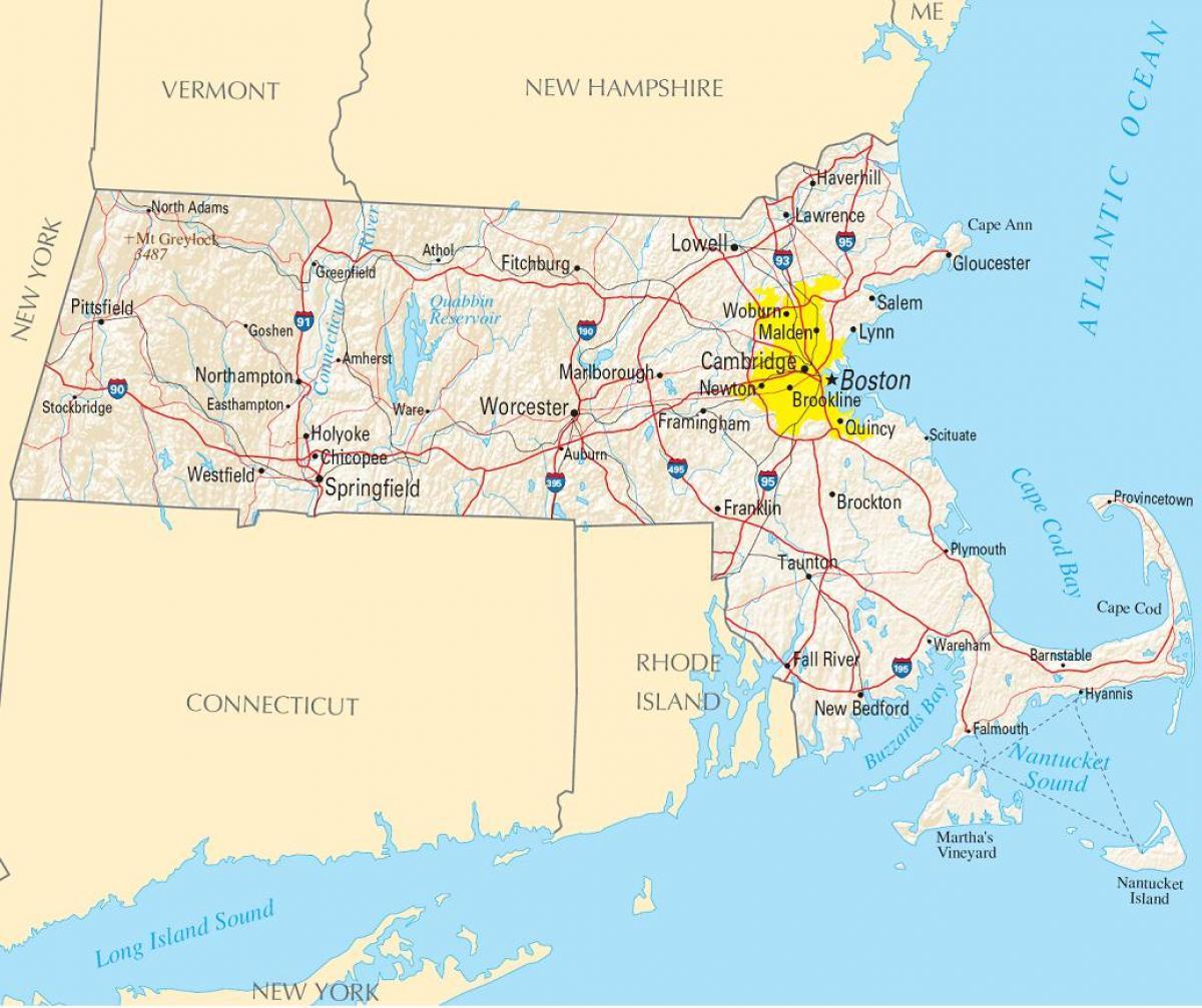 Boston Cartina Stati Uniti.Boston America Mappa Mappa Di Boston Usa Stati Uniti D America